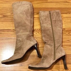 Karen Scott Taupe Suede Calf-Length Boots